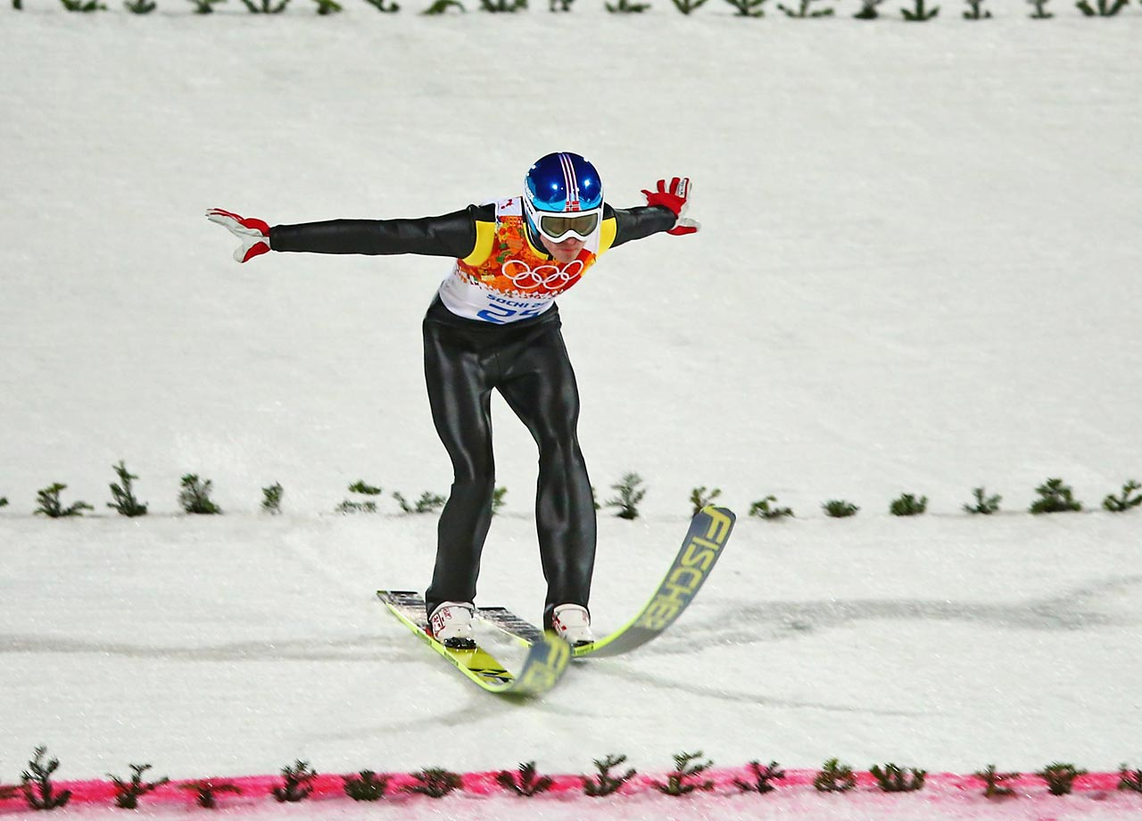 The Mens Large Hill Ski Jumping competition was hampered by strong winds that forced the cancellation of the trial round.