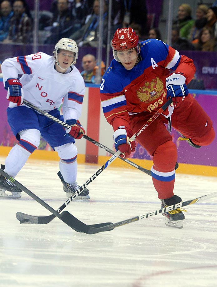 Russia's Alexander Ovechkin looks to shoot the puck during a 4-0 victory for his team over Norway.