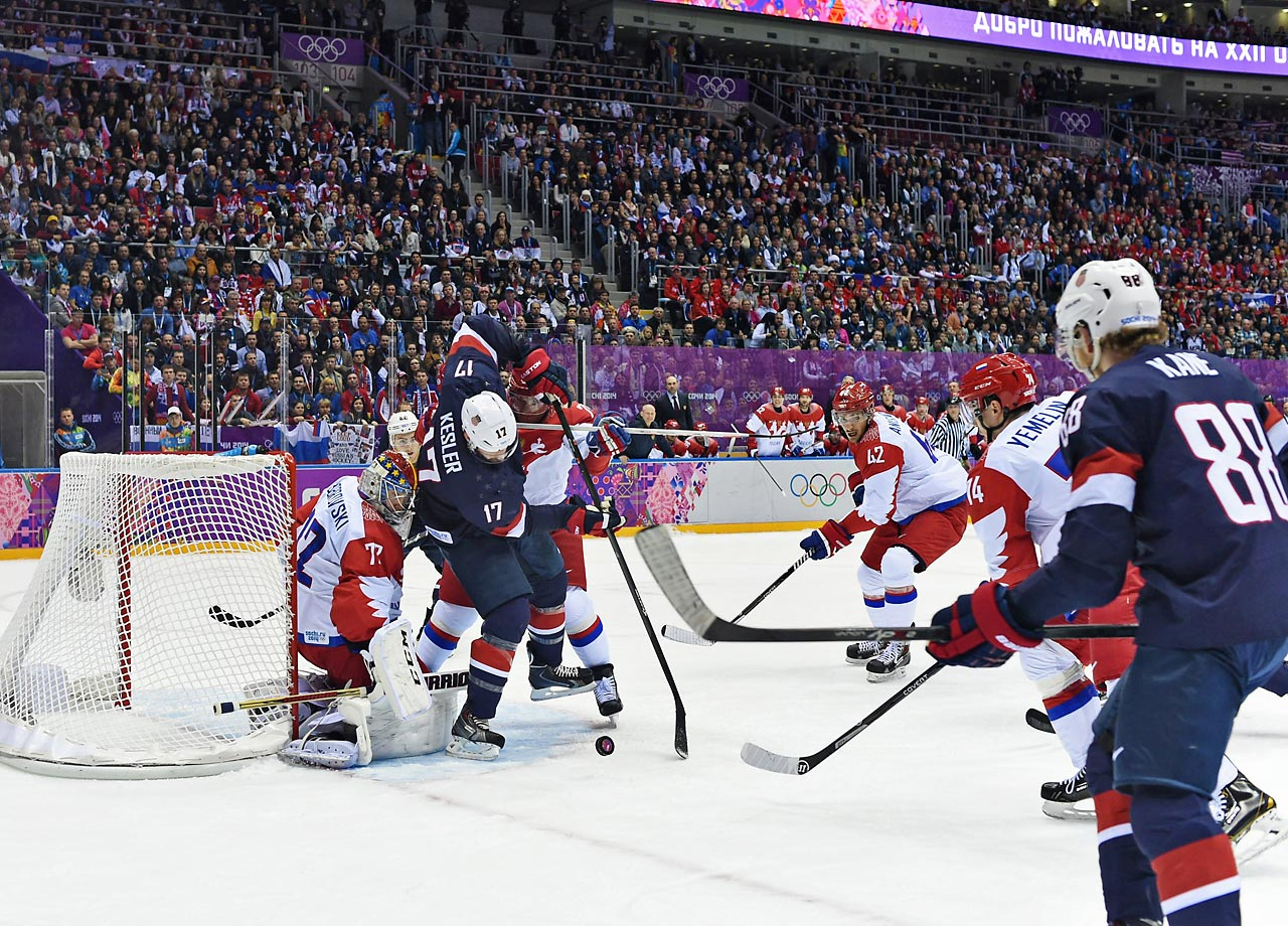 U.S scored the shootout winner as they defeated Russia 3-2 in a nail-biting Sochi Olympic hockey clash on Saturday.