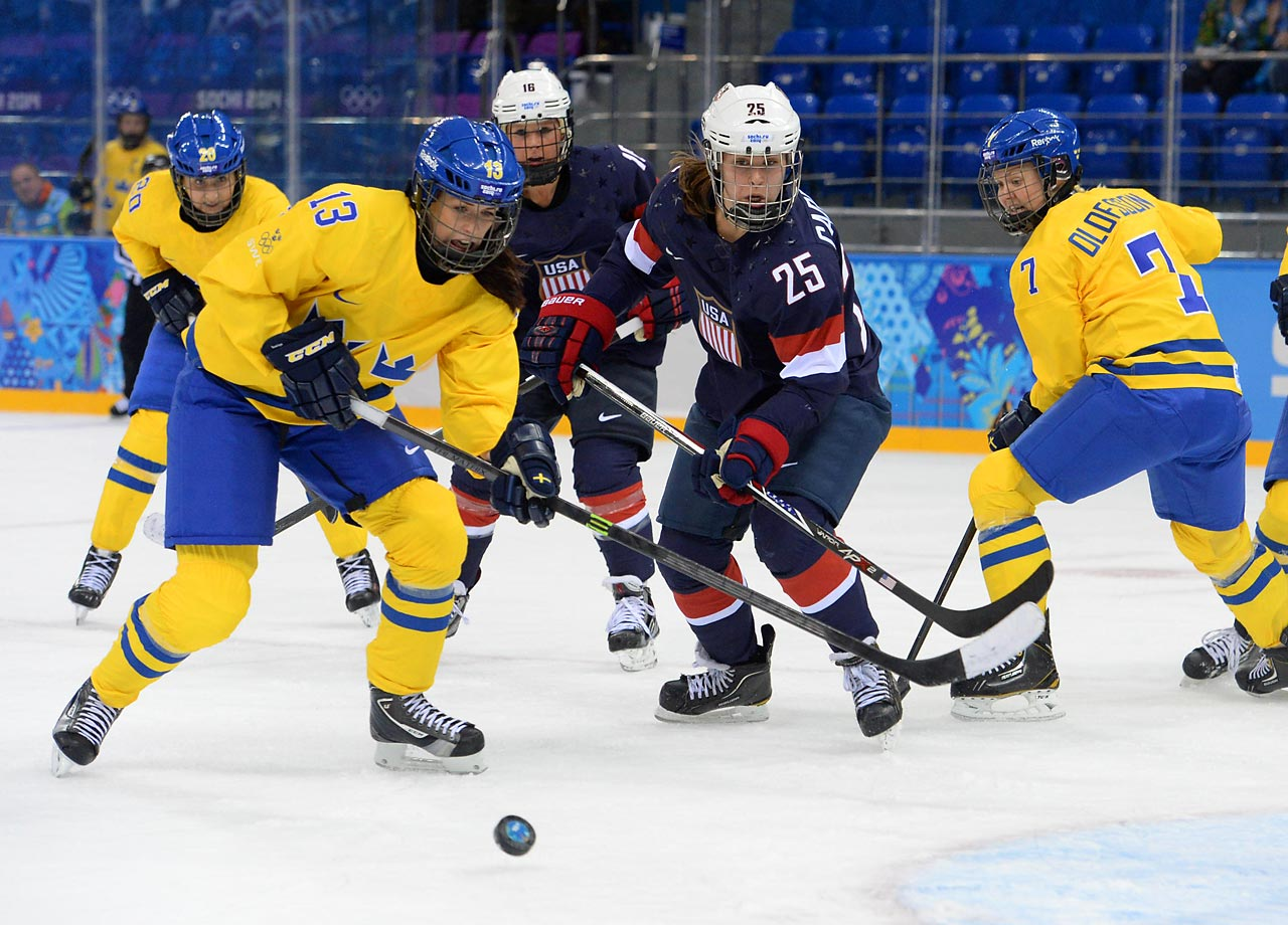 Forward Alex Carpenter battles with Sweden's Lina Wester.
