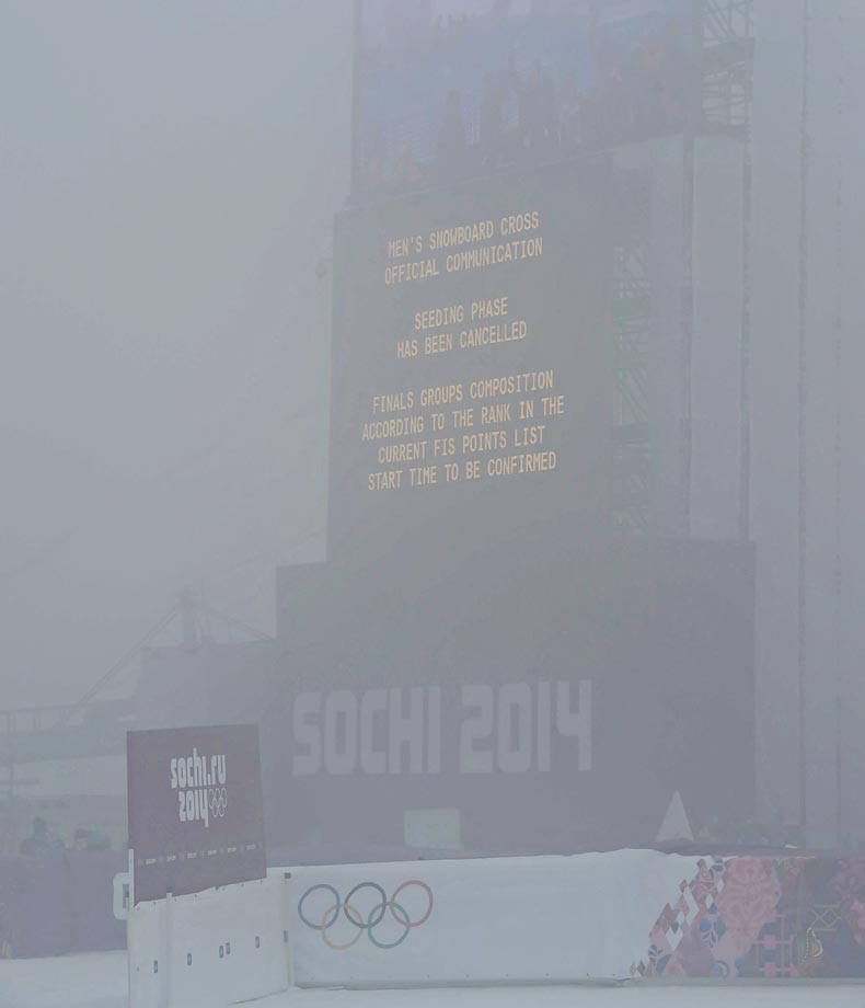 The men's Snowboard Cross competition was pushed back from Monday to Tuesday because of fog. (AP)