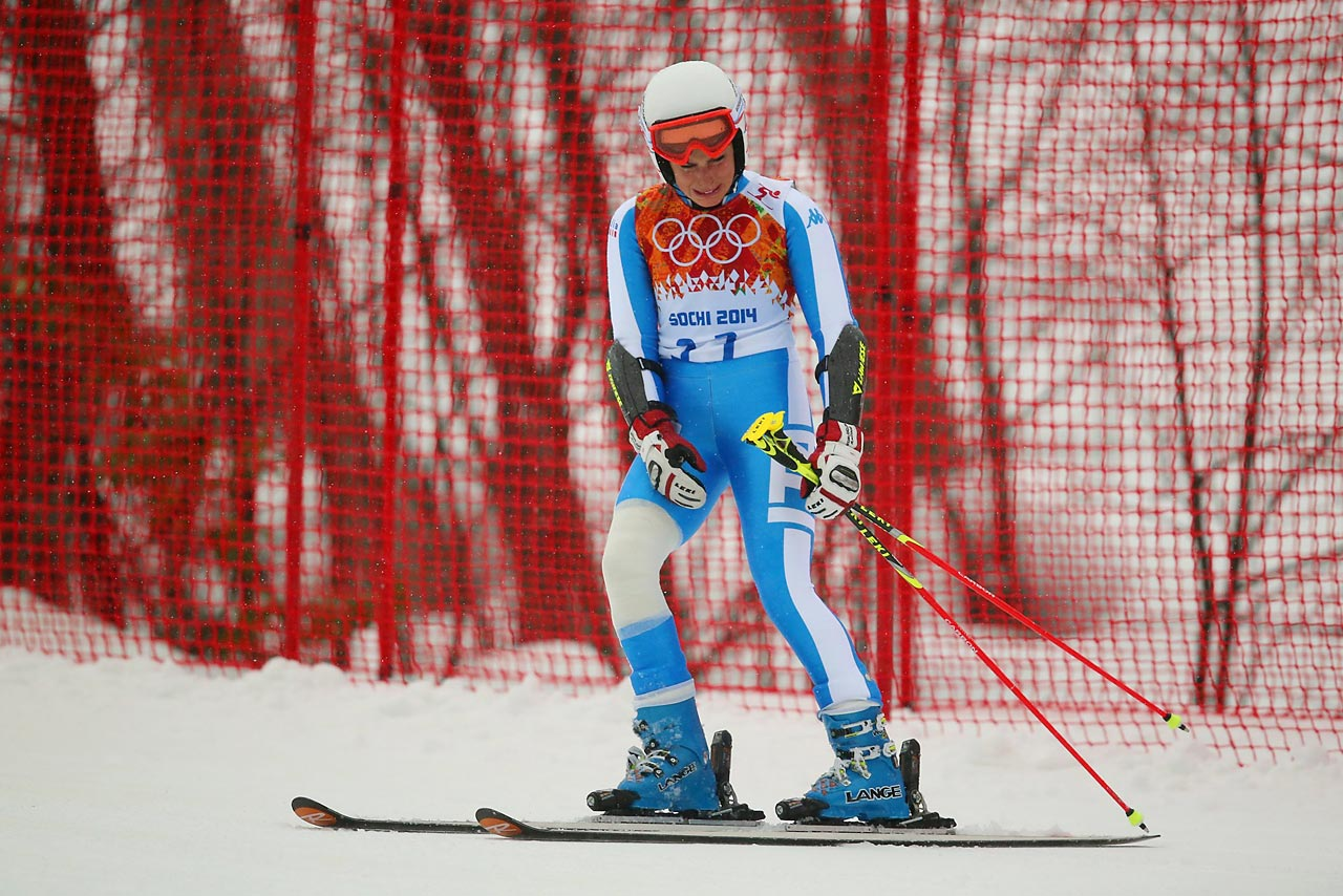 Federica Brignone of Italy dejected after missing a gate.