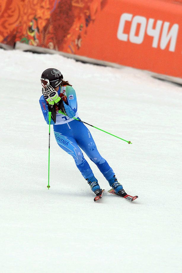 Slovenian skier Tina Maze wins gold in the giant slalom competition.