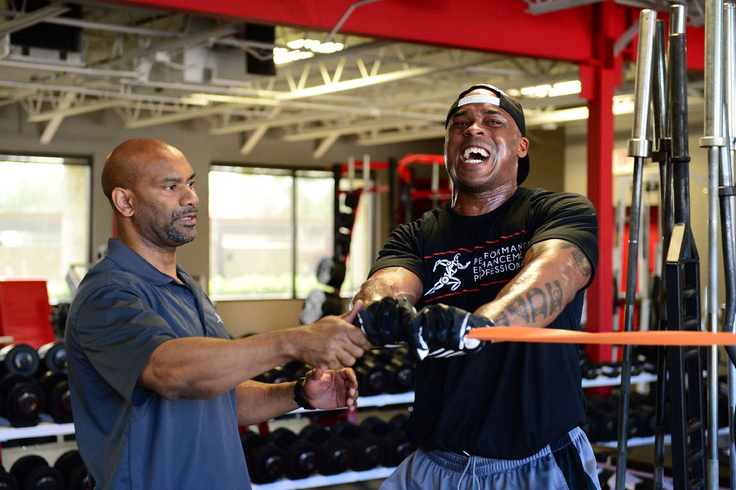 Green Bay Packers tight end Jermichael Finley working out his biceps at the Performance Enhancement Professionals complex in Scottsdale, AZ in February 2014.