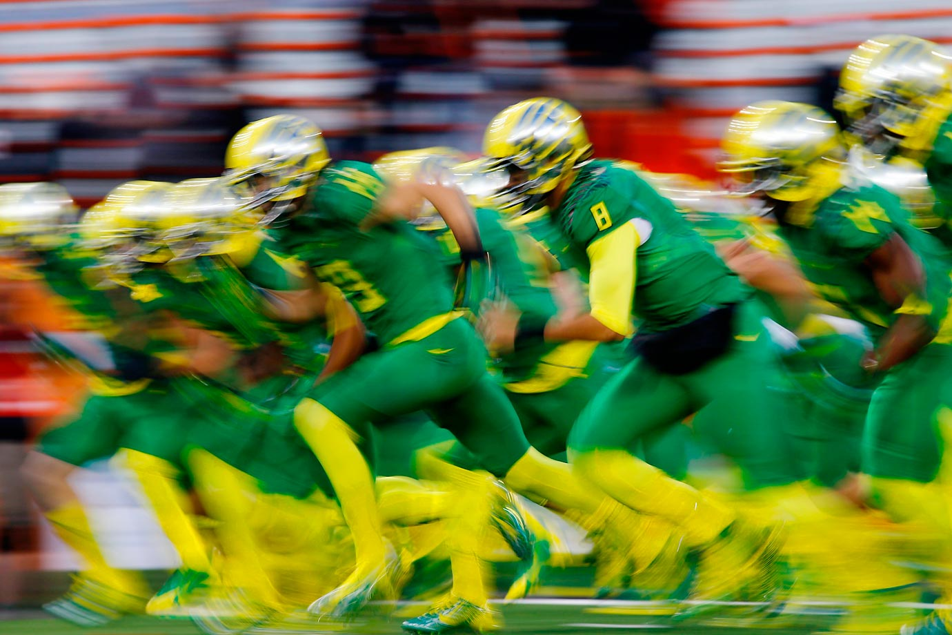 The Oregon Ducks take the field for their game against the Oregon State Beavers.