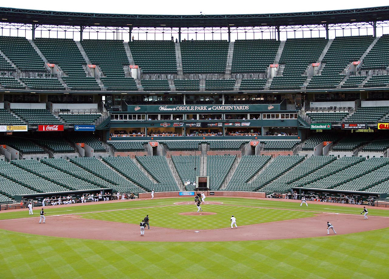 In what was believed to be the first major league game played without fans in attendance, Chris Davis hit a three-run homer in a six-run first inning and the Baltimore Orioles beat the Chicago White Sox 8-2 at a crowdless Camden Yards.