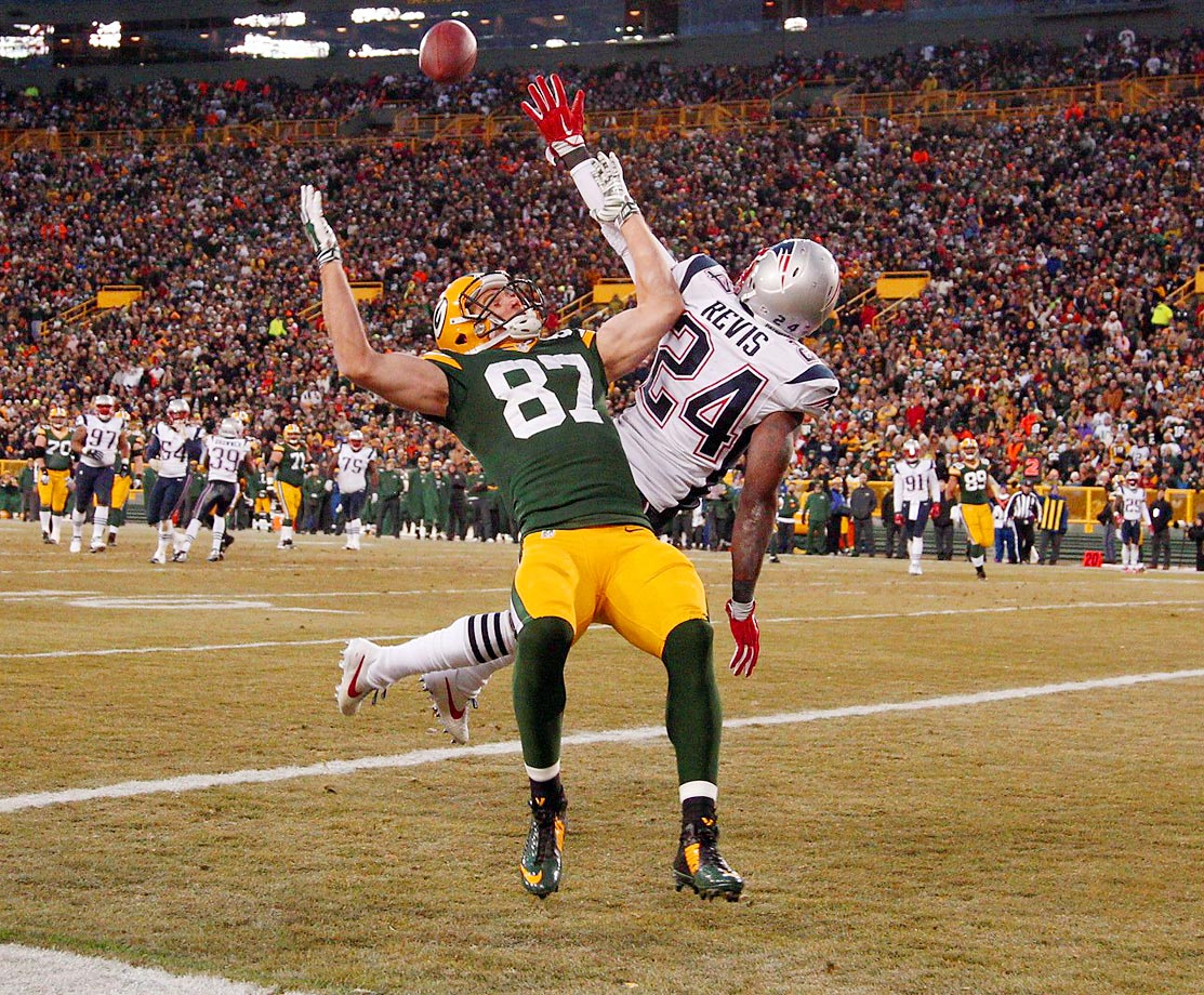 Patriots cornerback Darrelle Revis breaks up a pass intended for Packers receiver Jordy Nelson. The Packers defeated the Patriots 26-21.