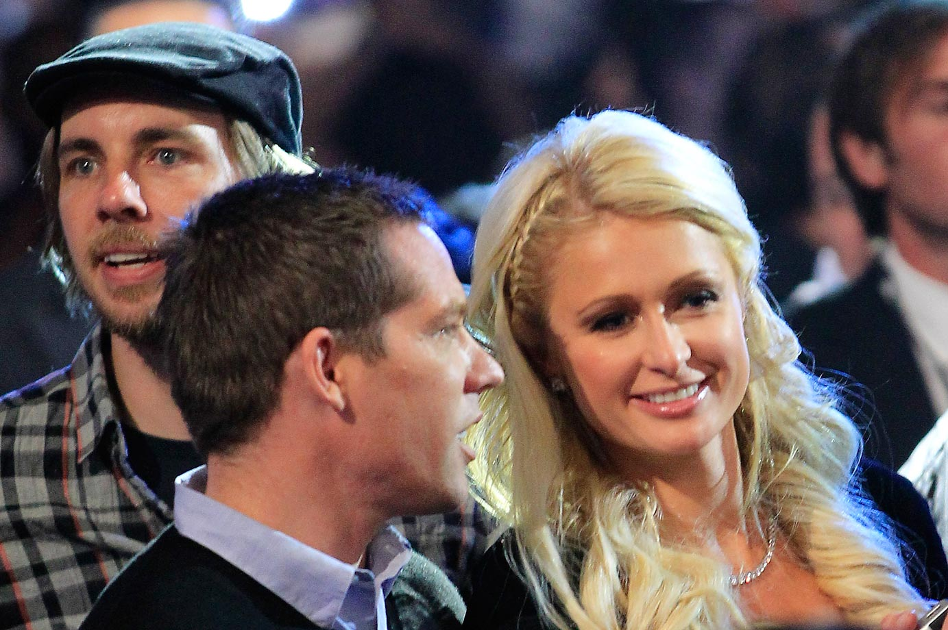 Paris Hilton, Cy Waits and actor Dax Shepard attend the Manny Pacquiao and Shane Mosley fight.