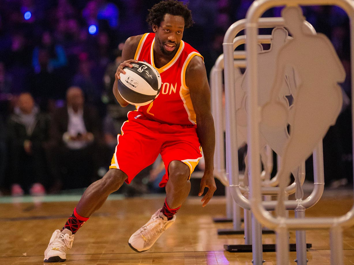 Rockets Guard Patrick Beverley competes in the Skills Challenge during NBA All-Star Saturday Night.