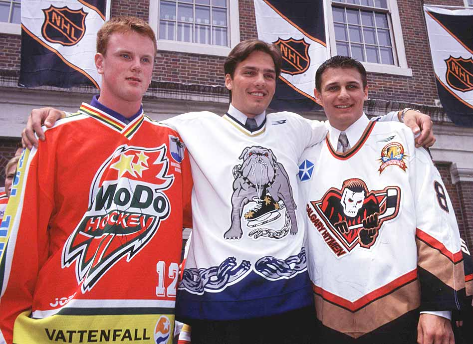 Chosen No. 1 by the Thrashers, Stefan (center) developed into a decent third-liner for the Atlanta, but hardly lived up to his draft status and was traded to Dallas in 2006 when his contract expired. After 41 games, the Stars had seen enough and he wasn't re-signed. Brendl (right) went to the Rangers at No. 4 and his potential helped New York land Eric Lindros from the Flyers in a 2001 trade. Brendl notched 13 points in 50 games with Philly and was out of the NHL by 2006-07.