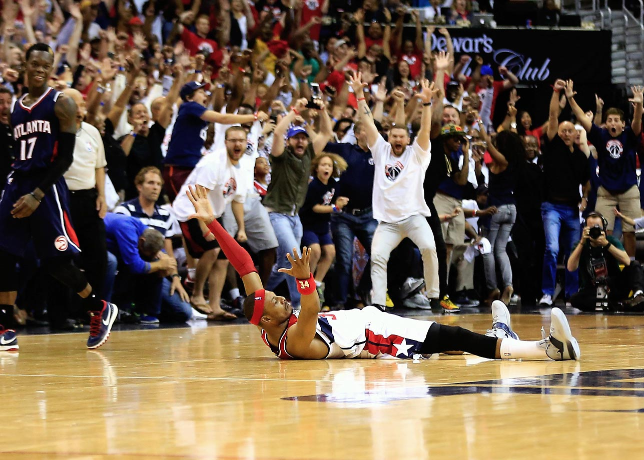 Paul Pierce of the Wizards celebrates hitting the game winning shot against the Hawks in game three of the Eastern Conference Semifinals.