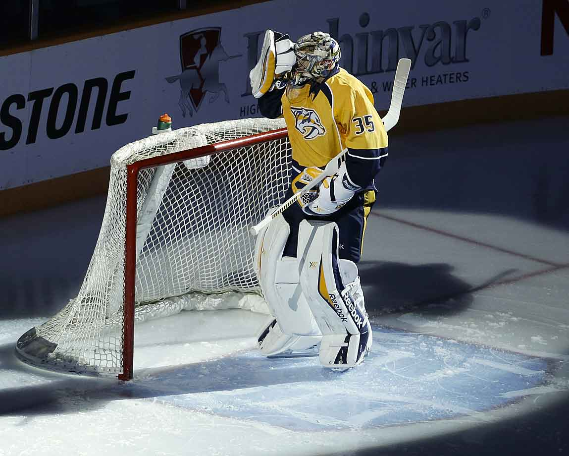 Recovery from hip surgery that the Finnish goalie underwent in May 2013 turned into a nightmare when he developed a bacterial infection—reportedly E. Coli—in the same hip five months later. The two-time Vezina finalist missed 51 games in '13–14, and when he returned in March he didn't look right, with a 3.02 goals-against average and a .894 save percentage in 15 starts.