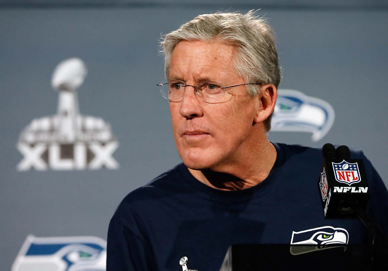 Seattle coach Pete Carroll at a Monday press conference