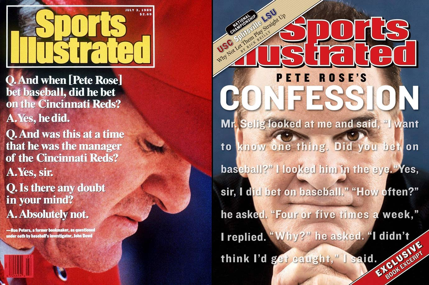"In 1989, SI first reported the story of Pete Rose's alleged gambling habits, including placing bets on baseball games. The report came after MLB questioned Rose and he denied gambling on the game. Later that year, however, MLB came into possession of documents detailing Rose's bets on baseball, including Cincinnati Reds games while he was their manager. Similarly to the 1919 Black Sox Scandal, Rose was found to have committed the ultimate no-no: betting on the game while having a direct effect on the outcome. The penalty for such an offense? A lifetime ban, one which he served while vehemently denying any wrongdoing until releasing an autobiography in 2004. In the book, the all-time hits king admitted he bet on Reds games ""every night"" as manager."