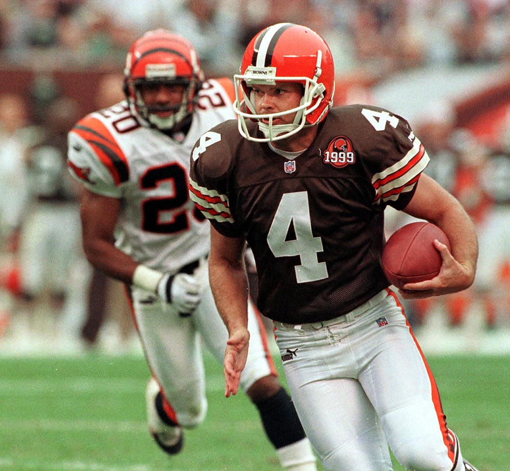 When the Browns were reincarnated as an NFL franchise in 1999, they didn't score a single rushing touchdown until the fifth week of the season. The first player to do so was Phil Dawson, a kicker. On a fake field goal, the holder flipped Dawson the ball and the kicker did the rest, plunging into the end zone for a four-yard touchdown.