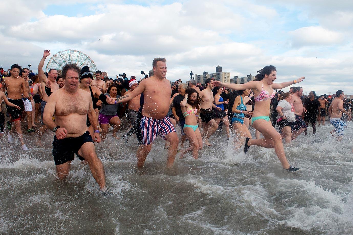 The annual Coney Island Polar Bear Club New Year's Day swim...