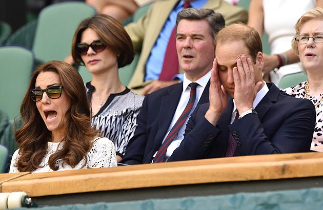 Prince William and Kate cringe as they watch Andy Murray's match against Grigor Dimitrov on Centre Court.
