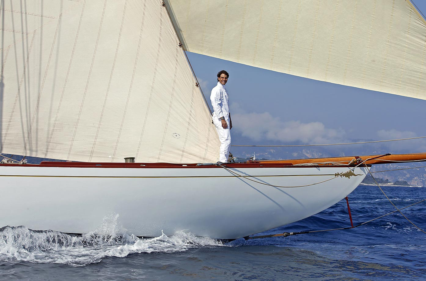 Rafael Nadal sails on a Tuiga yacht in 2014 during the Monte Carlo ATP Masters tennis tournament.