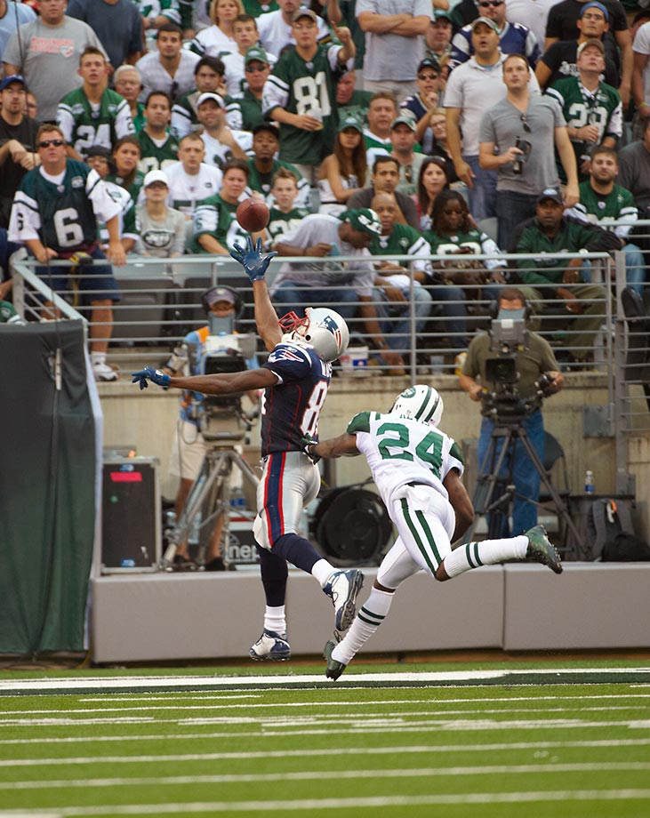 2010: Randy Moss 34-yard one-hand TD catch in the Patriots game against the Jets.