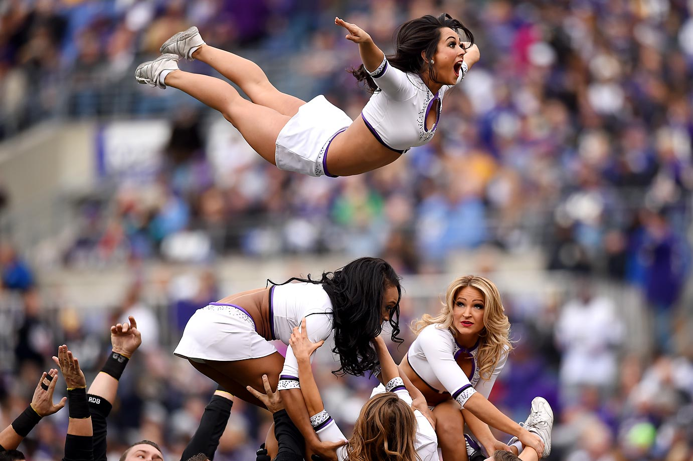 The Ravens cheerleaders perform during the Baltimore-San Diego game.