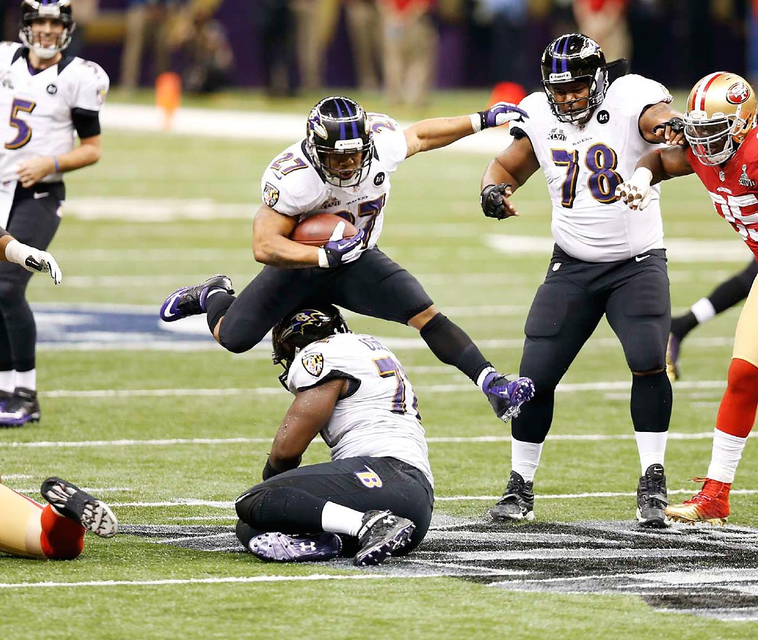 Ray Rice hurdles a teammates during the Baltimore Ravens Super Bowl XLVII victory over the San Francisco 49ers in New Orleans in 2013.