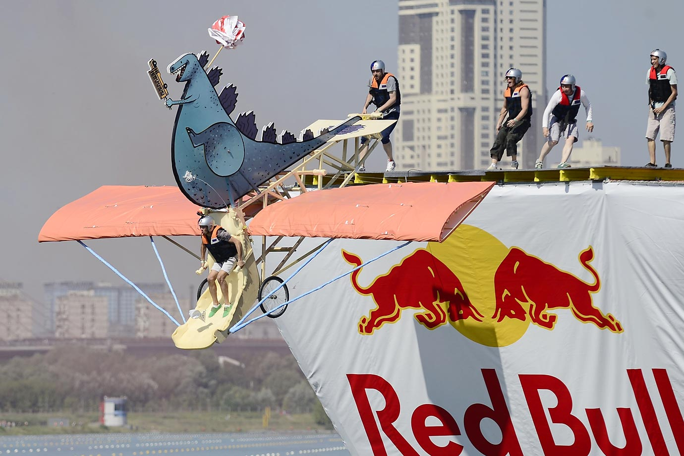 The Red Bull Flugtag Russia 2015 competition in Moscow, Russia. Thirty-nine teams took part in the event piloting their self-made aircrafts, which launched, or plunged, into Grebnoy Chenal.