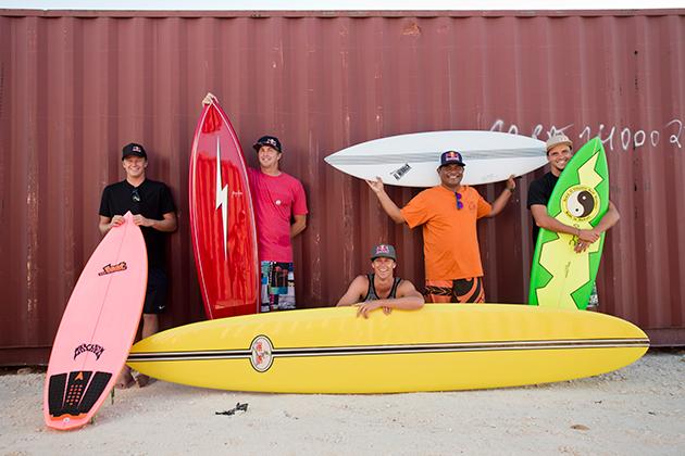 (From the left) Kolohe Andino, Jamie O'Brien, Ian Walsh, Raimana van Bastolaer and Julian Wilson.