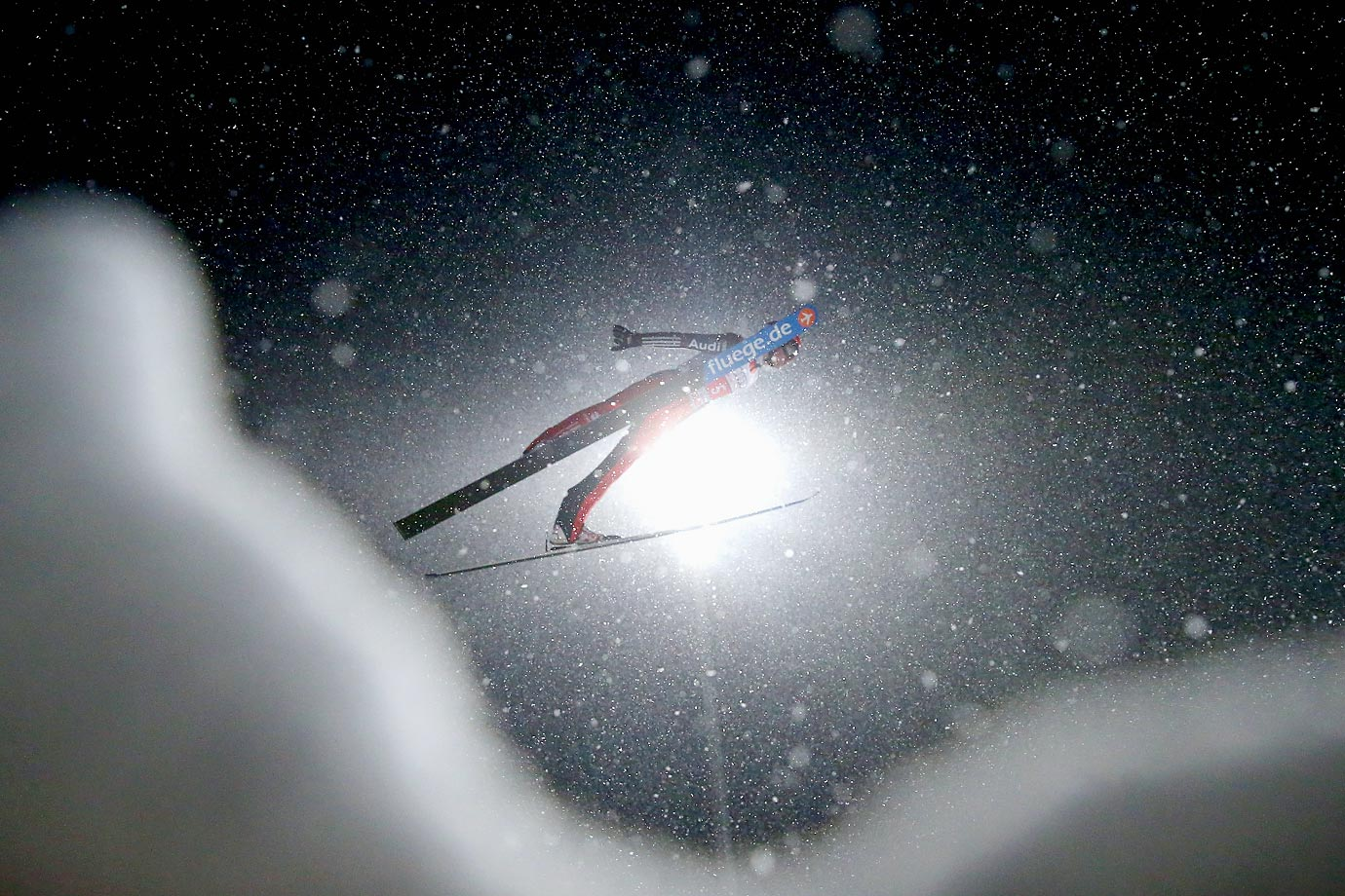 Richard Freitag of Germany competes in the Four Hills Tournament Ski Jumping event at Schattenberg-Schanze Erdinger Arena in Oberstdorf, Germany.