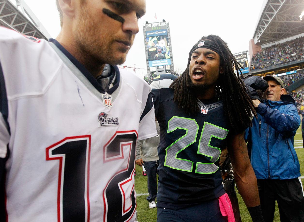 "A triumphant Richard Sherman taunted Brady after Seattle beat the Patriots on Oct. 14, 2014. Sherman intercepted Brady in the third quarter, which prompted Brady to tell the second-year cornerback to ""see him after the game when they win,"" Sherman said. When the Seahawks came out on top, Sherman called the Patriots ""a gimmick offense"" and posted a photo of himself with a dejected Brady, along with the caption ""U MAD BRO?"""