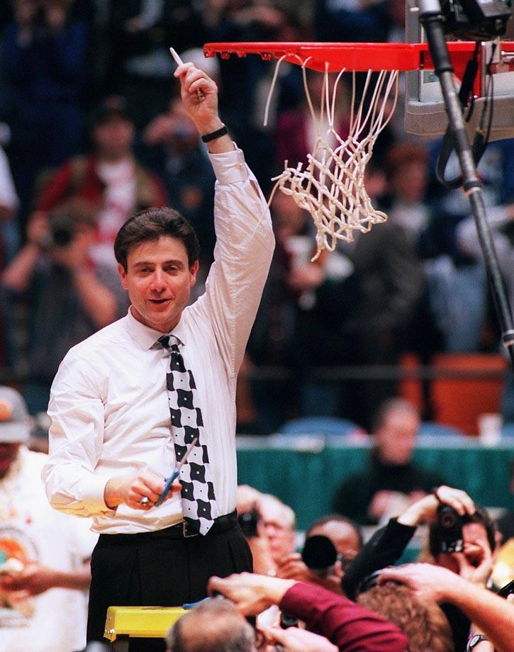 Rick Pitino celebrates Kentucky's championship.