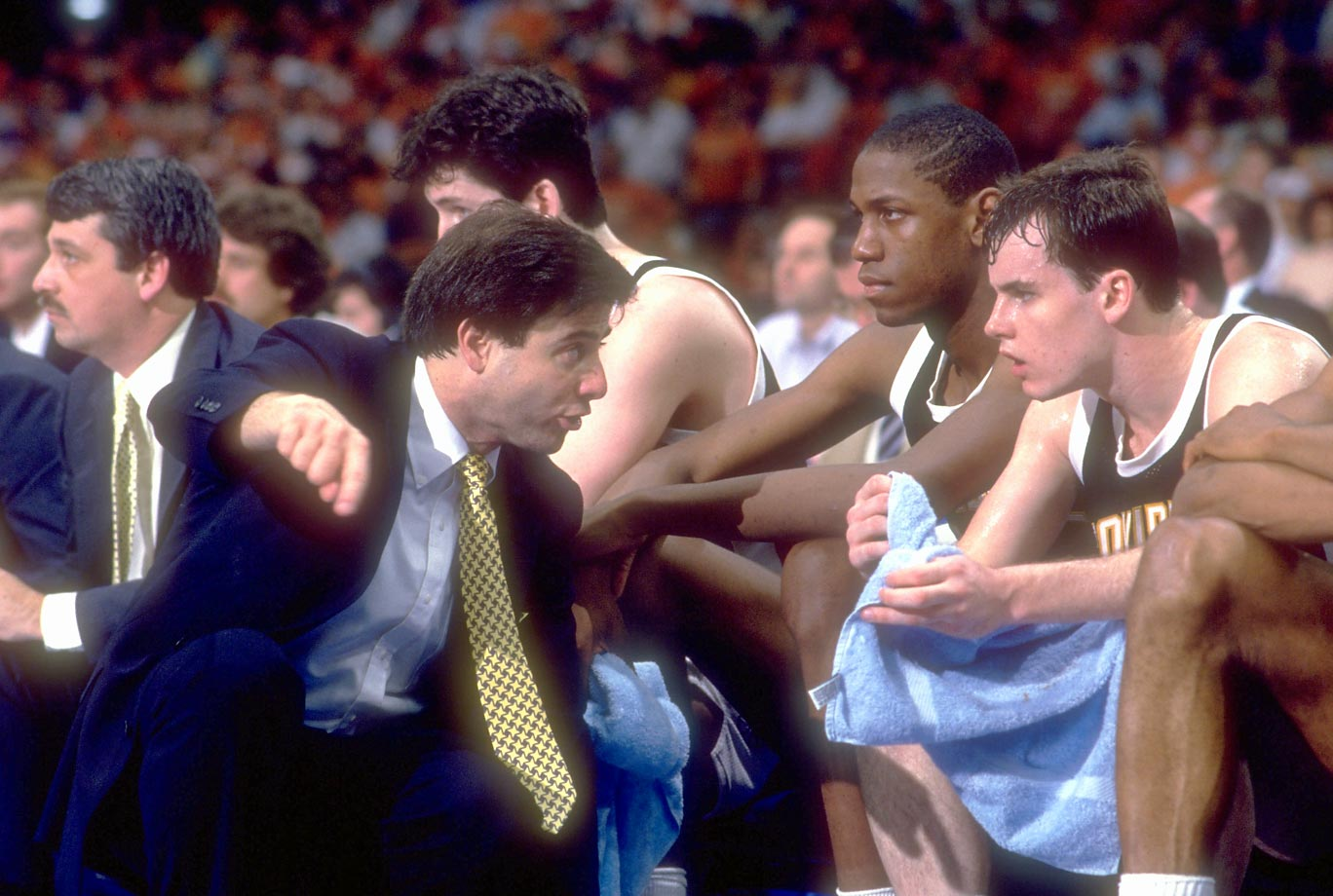 Providence coach Rick Pitino talks to point guard Billy Donovan during the Final Four.