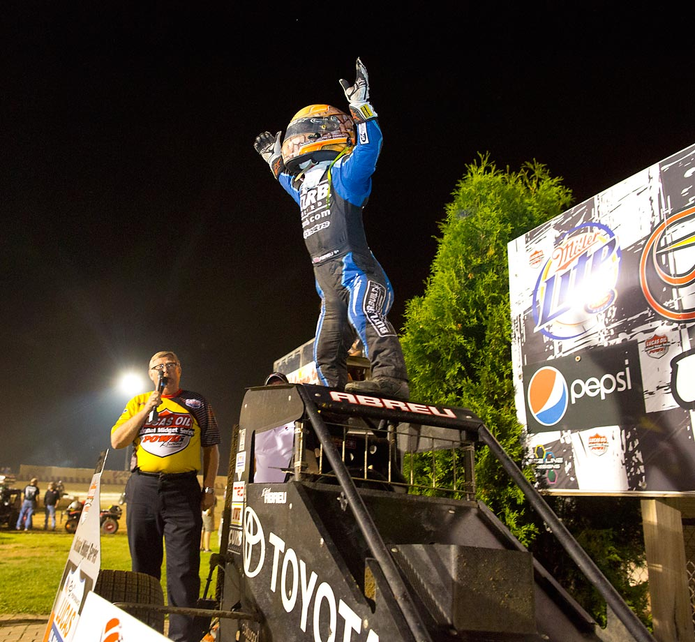 Rico Abreu, driver of the #97 Keith Kunz/Curb-Agajanian Motorsports, celebrates winning the Badger Midget series race at Angell Park, Wisc.