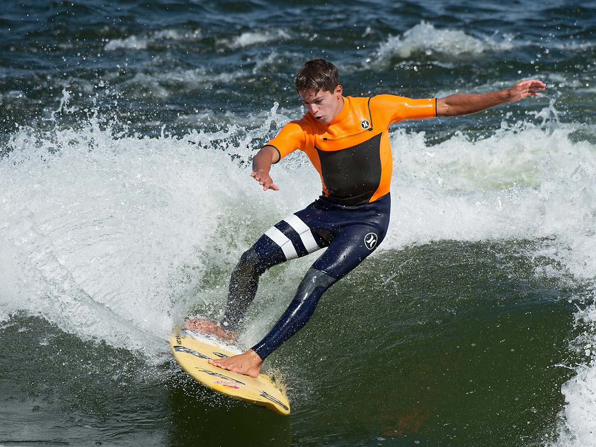 "Kai Lenny from Hawaii is seen here river surfing for the first time -- during  the ""Ocean vs River Surfer""  competition."