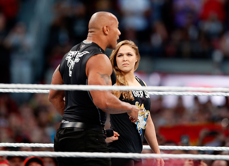 Ronda Rousey and The Rock at WrestleMania 31 in Santa Clara.