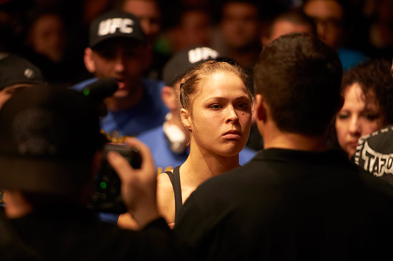 Ronda Rousey walks in to fight Liz Carmouche during the inagural Women's UFC fight at Honda Center in Anaheim, CA.
