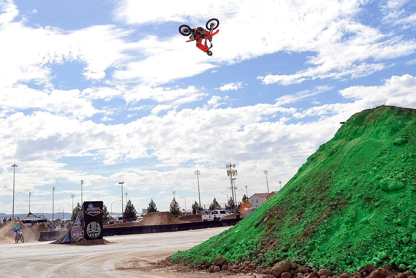 Freestyle rider Ronnie Renner performs during a qualifying round for the Dirt Shark Biggest Whip at the Monster Energy Cup.