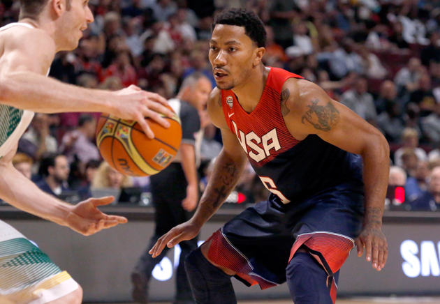 Derrick Rose (6) defends against Brazil's Marcelo Huertas during an exhibition game between the US and Brazilian national teams in Chicago.