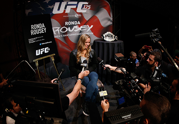 Ronda Rousey interacts with media during the UFC Ultimate Media Day.