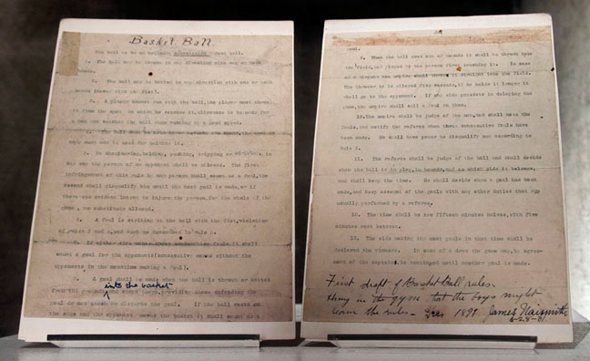 The original pages of Naismith's 13 rules of Basket Ball were auctioned off in 2010 for $4.3 million. The document is housed at the University of Kansas DeBruce Center.