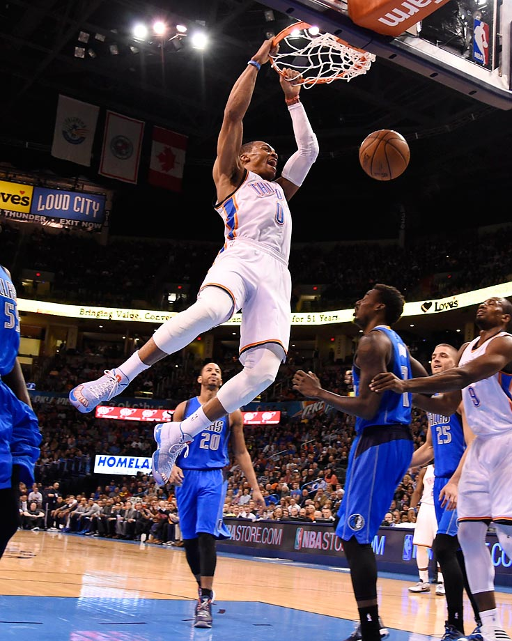 Russell Westbrook dunks during the Oklahoma City Thunder's game against the Dallas Mavericks.