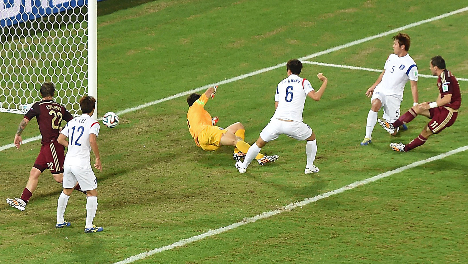 Russia's forward Alexander Kerzhakov scores during the 1-1 draw with South Korea in the Pantanal Arena in Cuiaba.