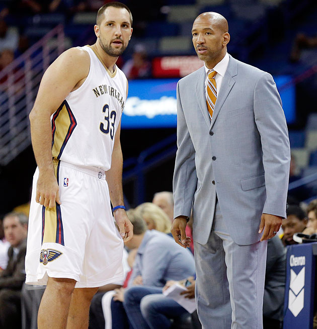 The Pelicans' Monty Williams (right) was as much a counselor as a coach to Anderson in the aftermath of Gia Allemand's suicide.