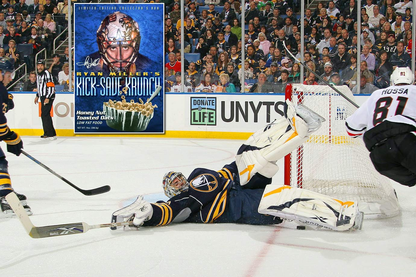 In 2010 the Sabres' star netminder began appearing on breakfast tables in the greater Buffalo area. Proceeds from sales benefitted his Steadfast Foundation.