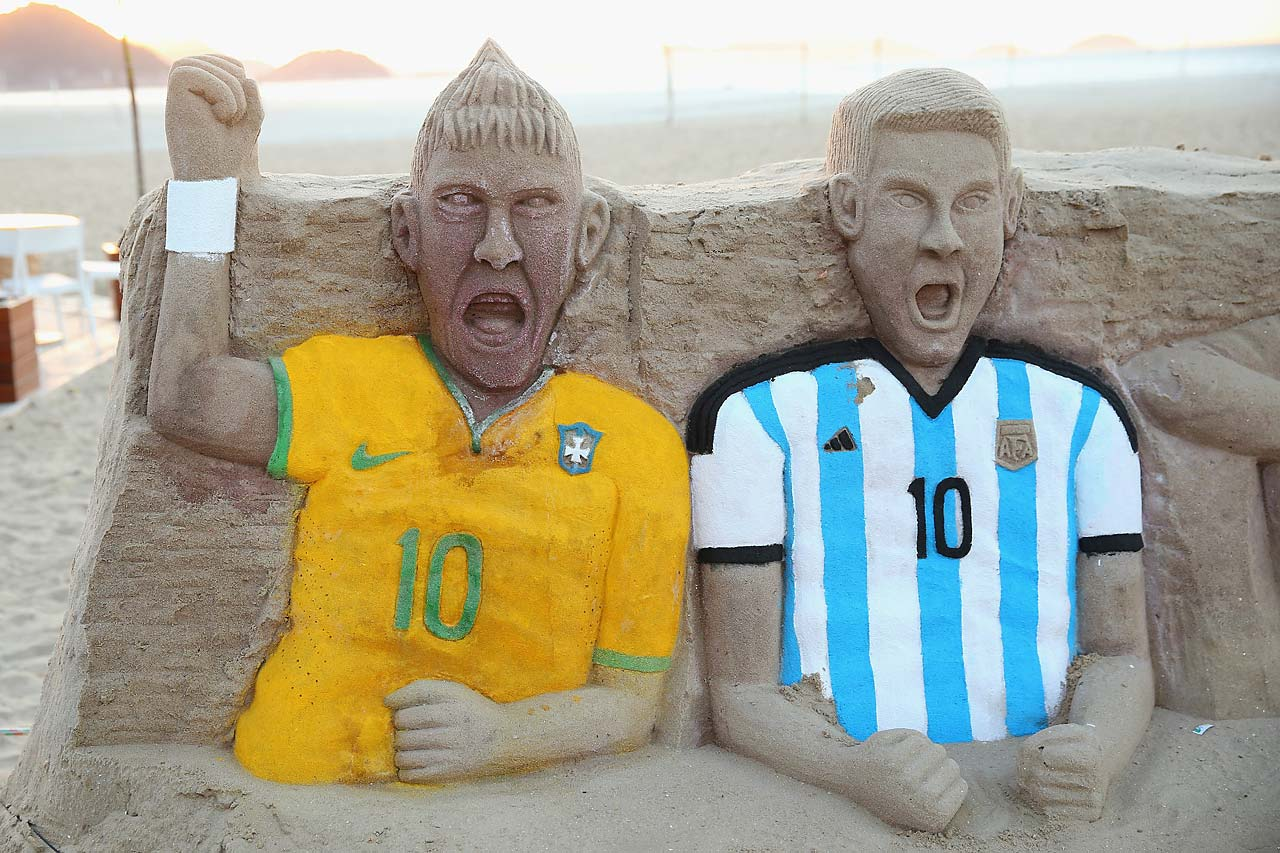 A sandcastle of Neymar of Brazil and Lionel Messi of Argentina on Copacabana beach on June 9 in Rio de Janeiro, Brazil.