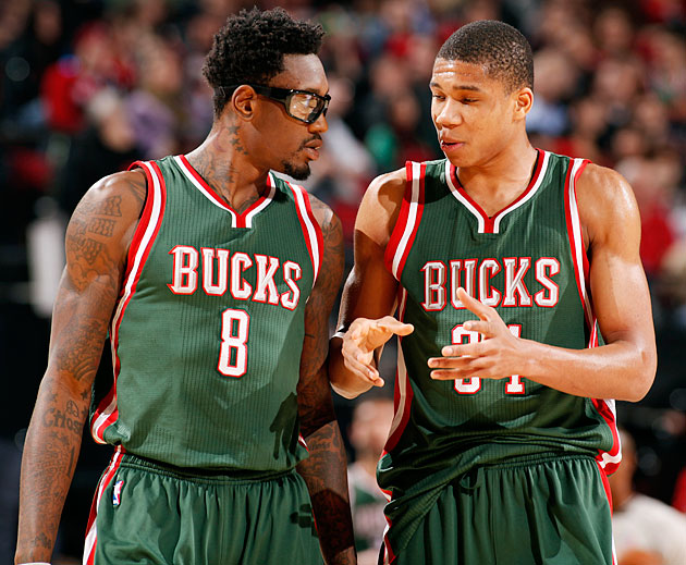 Sanders (left) is focused on helping teammates like 20-year-old Giannis Antetokounmpo.