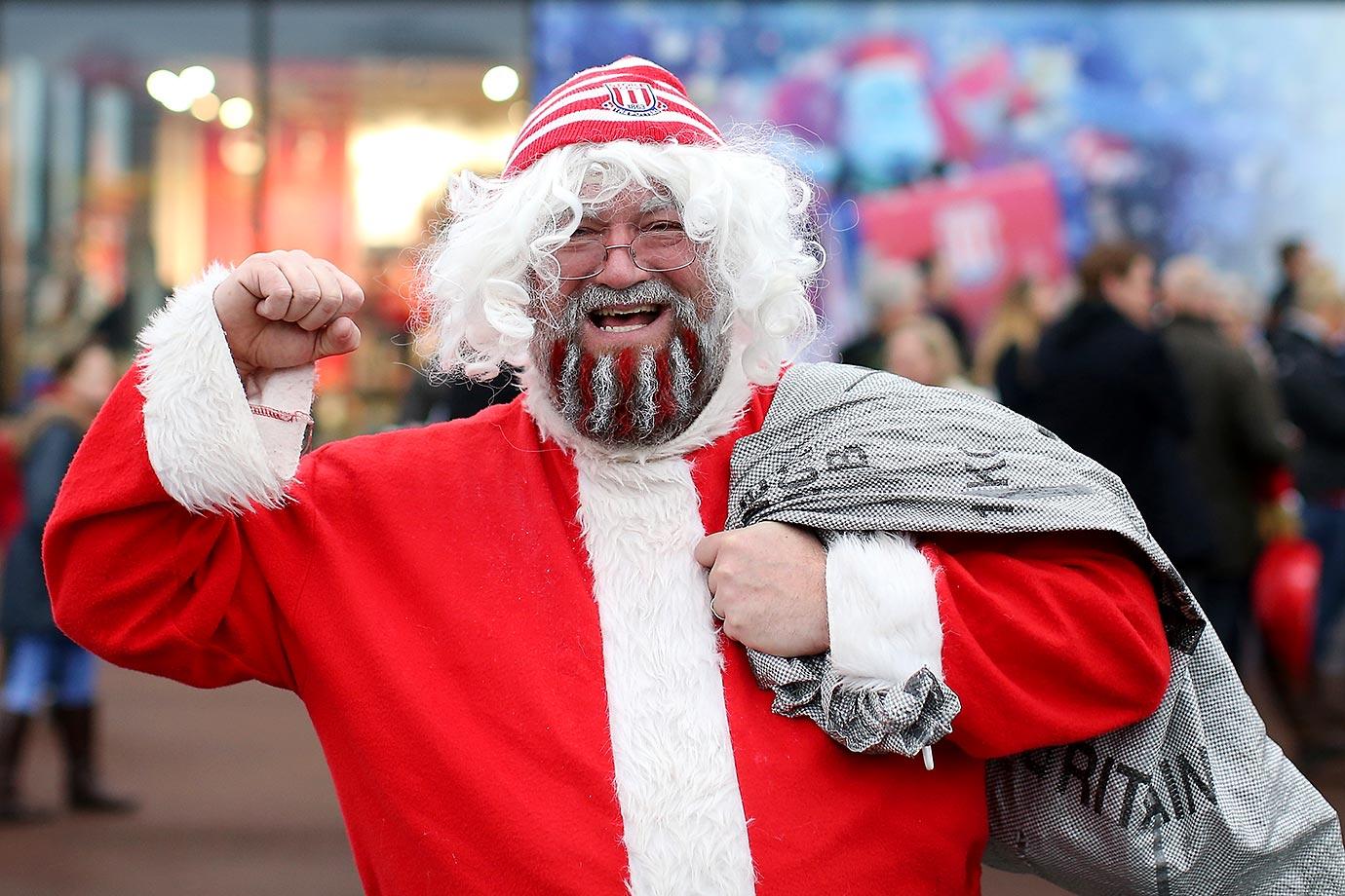 Santa at the Barclays Premier League match between Stoke City and Crystal Palace at Britannia Stadium.