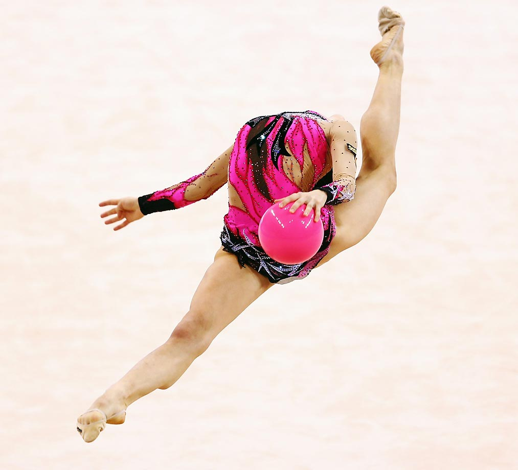 Sara Staykova of Bulgaria performs with the ball during the GAZPROM World Cup Rhythmic Gymnastics in Stuttgart, Germany.