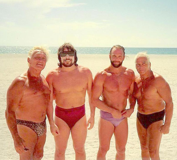 Angelo Poffo, Lanny Poffo, Randy Savage and Buddy Roberts
