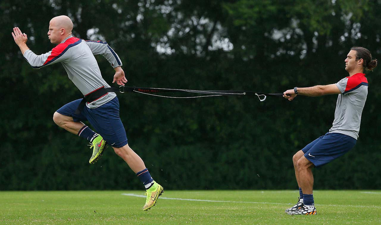 Michael Bradley and Graham Zusi of the United States work out during their training session at Sao Paulo FC on June 10.