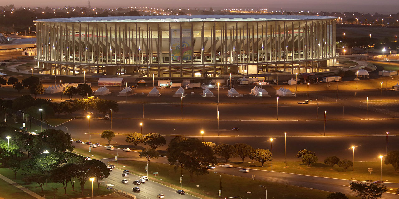A view of the National Stadium complex in Brasilia, Brazil.